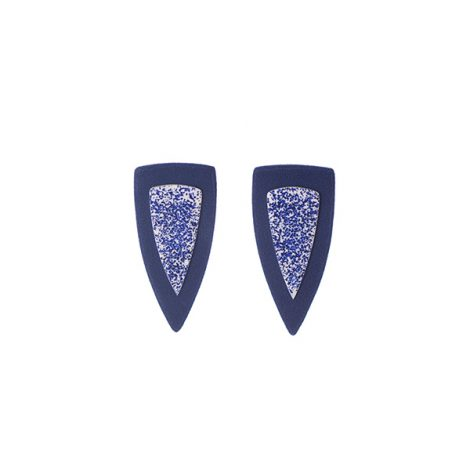 polymer clay blue and white fashion stud earrings
