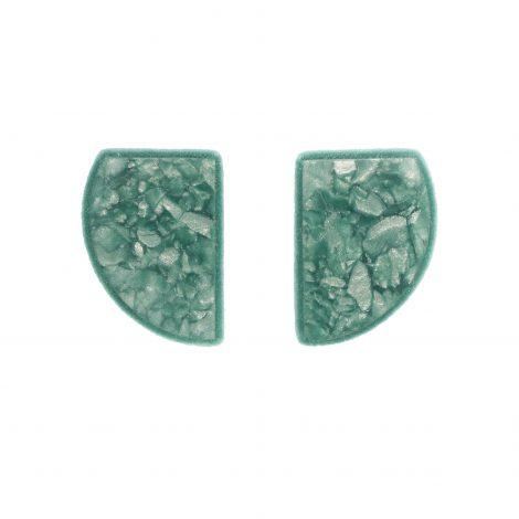 semicircular handmade polymer clay earrings