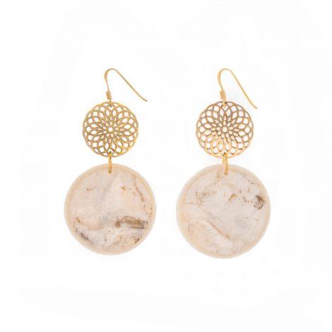 handmade polymer clay romantic white earrings
